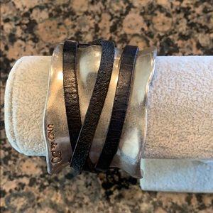 Metal/leather wrap cuff